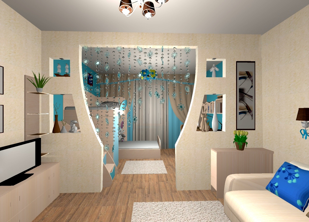 Дизайн гостиной зонирование